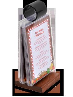 FlipTop Menu Holders AcmeTable Top Menu Holders - Table menu holders for restaurants