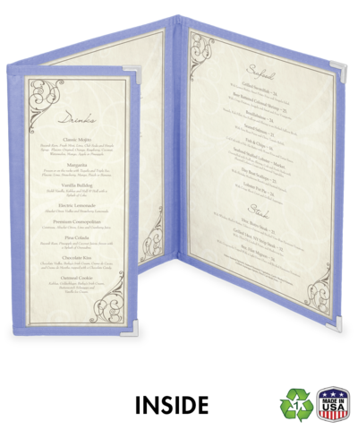 Double + 1/2 Cafe Style Menu Cover w/ Fabric Binding