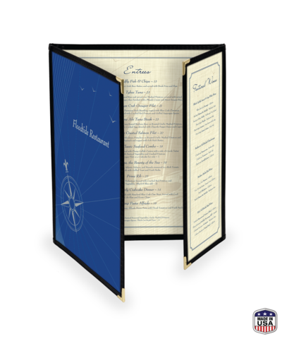 Double + 1/2 Cafe Style Menu Cover w/ Leatherette Binding