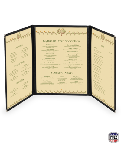Continuous Triple Cafe Style Menu Cover w/ Leatherette Binding