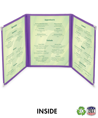 Continuous Triple Cafe Style Menu Cover w/ Fabric Binding