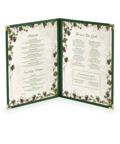 Double, Four View Cafe Menu Cover w/ Fabric Binding