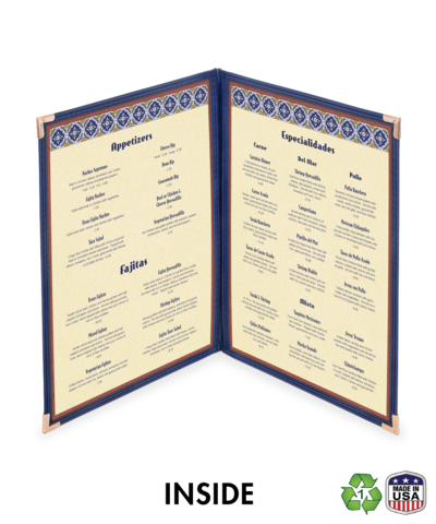 Double, Four View Cafe Menu Cover w/ Leatherette Binding