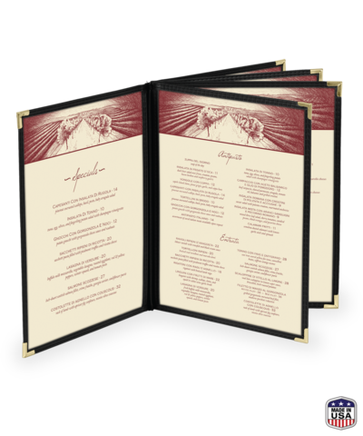 Five Panel (10 view) Cafe Style Menu Cover w/ Leatherette Binding