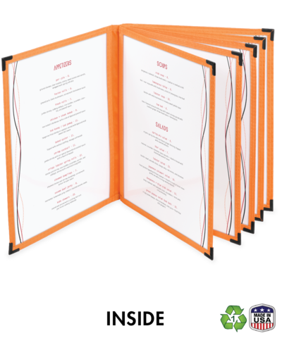 Six Panel (12 view) Cafe Style Menu Cover w/ Fabric Binding