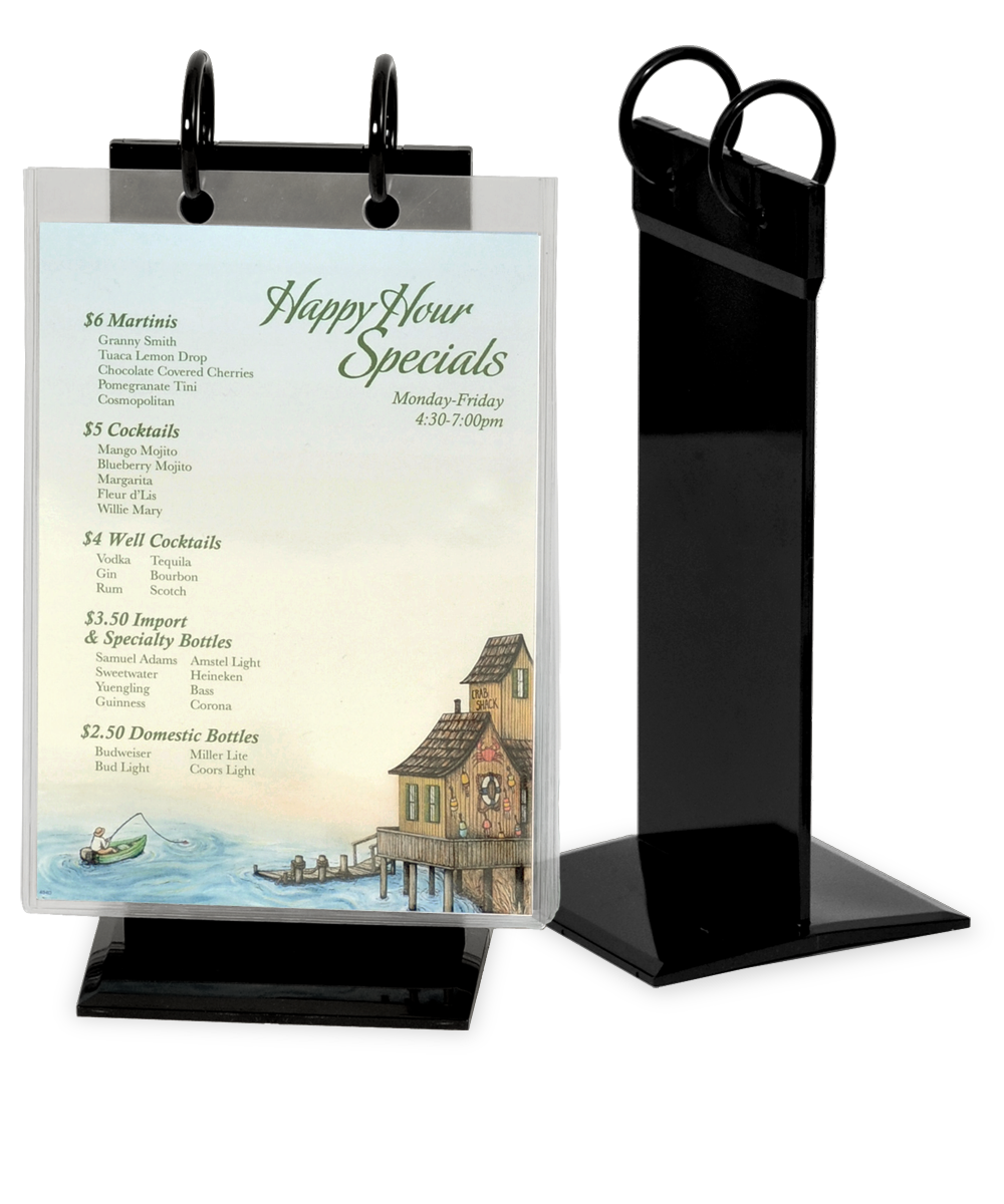 Pvc Twin Ring Flip Stand Menu Holders Restaurant Table Tents
