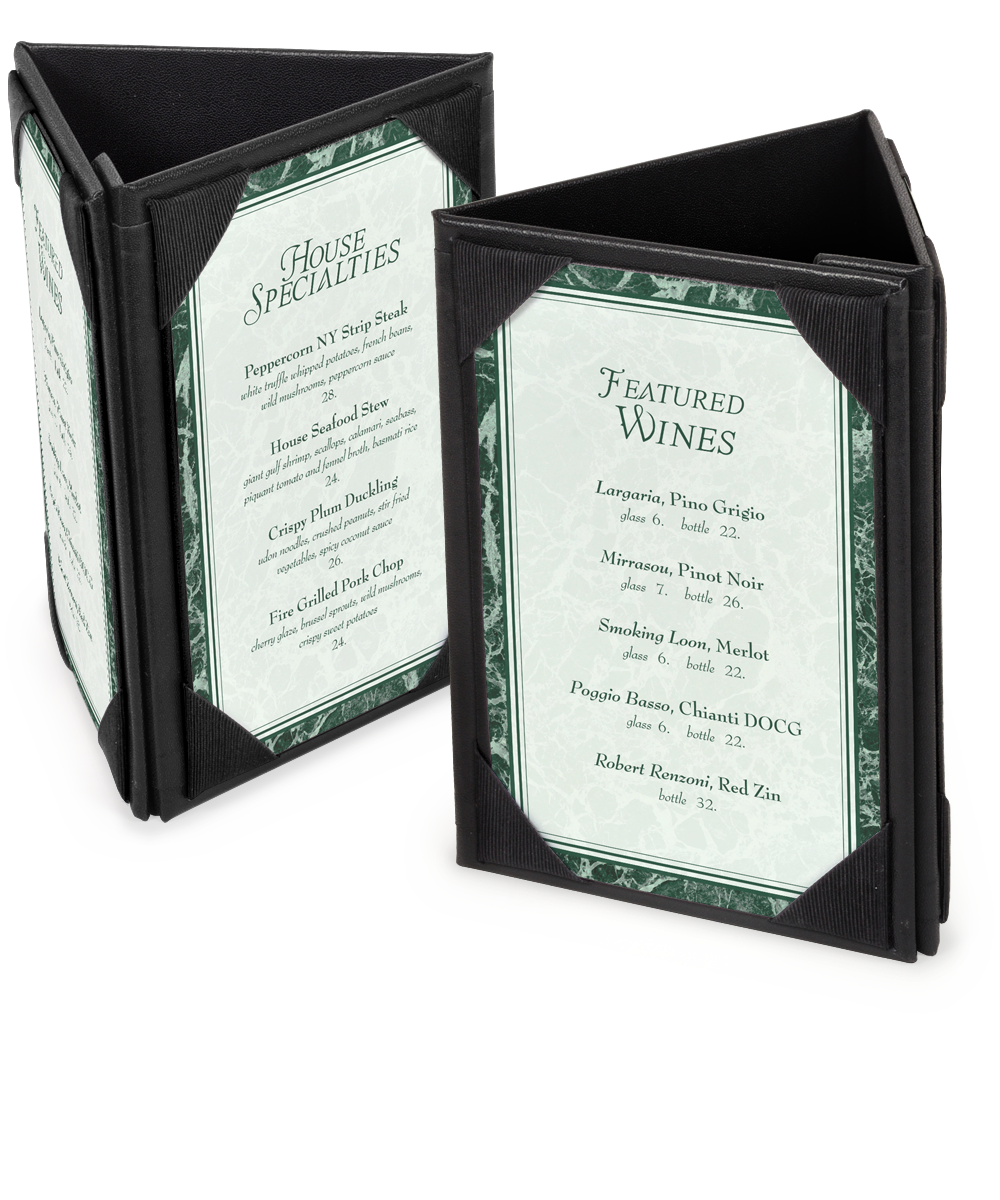 3 Sided Leatherette Table Tents A Frame Table Tents