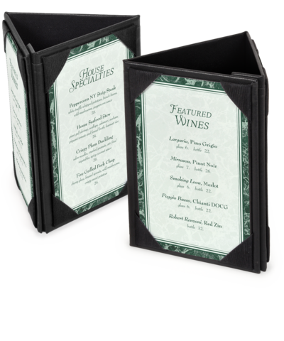 3 Sided Leatherette Table Tents | A-Frame Table Tents
